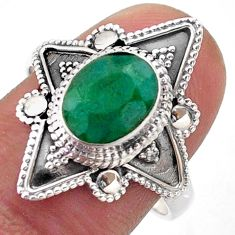 925 sterling silver 3.10cts solitaire natural green emerald ring size 8.5 t46635