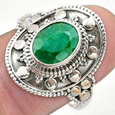 925 sterling silver 3.21cts solitaire natural green emerald ring size 8.5 t46692