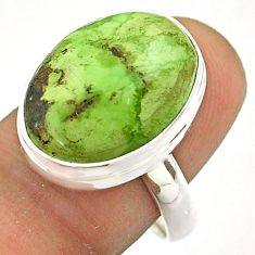 925 sterling silver 14.08cts solitaire natural green gaspeite ring size 8 t54720