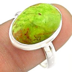 925 sterling silver 8.43cts solitaire natural green gaspeite ring size 9 t54710