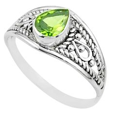 925 sterling silver 1.57cts solitaire natural green peridot ring size 6 t51924