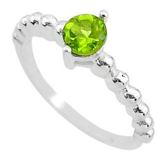 925 sterling silver 0.81cts solitaire natural green peridot ring size 7 t3378
