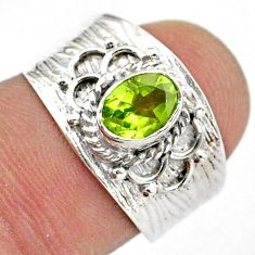 925 sterling silver 1.56cts solitaire natural green peridot ring size 7 t42228