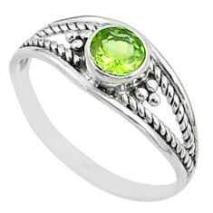 925 sterling silver 0.82cts solitaire natural green peridot ring size 7 t51996