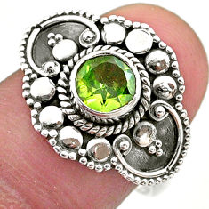 925 sterling silver 1.21cts solitaire natural green peridot ring size 8 t46164