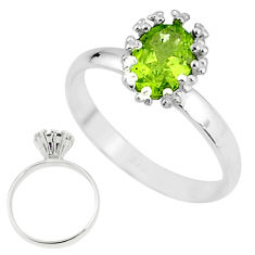 925 sterling silver 2.22cts solitaire natural green peridot ring size 8 t7232