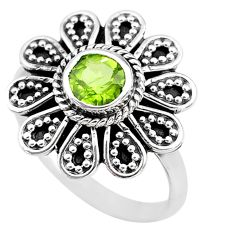 925 sterling silver 1.16cts solitaire natural green peridot ring size 8.5 t19996