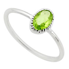 925 sterling silver 0.88cts solitaire natural green peridot ring size 6.5 t40991