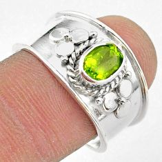 925 sterling silver 1.57cts solitaire natural green peridot ring size 8.5 t42226