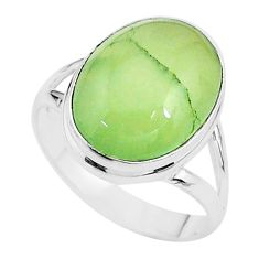 925 sterling silver 9.97cts solitaire natural green prehnite ring size 10 t17788