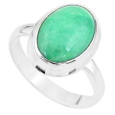 925 sterling silver 4.87cts solitaire natural green variscite ring size 8 t15405