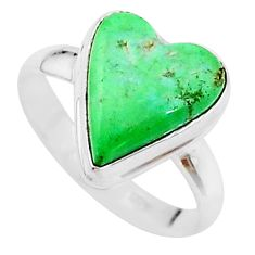 925 sterling silver 7.00cts solitaire natural green variscite ring size 8 t15608