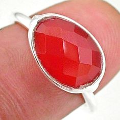 925 sterling silver 4.71cts solitaire natural honey onyx ring size 6 t34725
