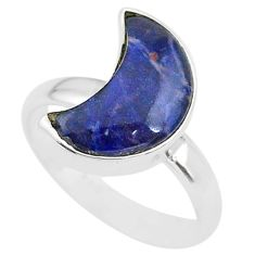 925 sterling silver 4.89cts moon natural orange sodalite ring size 7 t22047