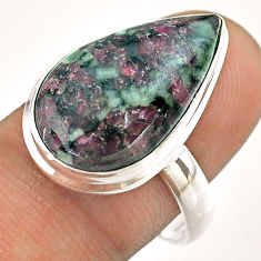 925 sterling silver 12.89cts solitaire natural pink eudialyte ring size 9 t54471