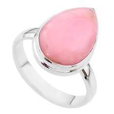 925 sterling silver 9.99cts solitaire natural pink opal pear ring size 9 t17924