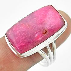 925 sterling silver 17.20cts solitaire natural pink petalite ring size 11 t54100