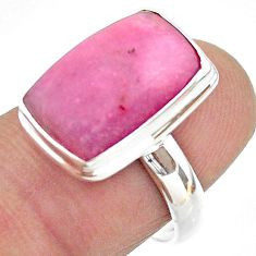 925 sterling silver 6.58cts solitaire natural pink petalite ring size 7 t39160