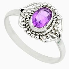 925 sterling silver 1.31cts solitaire natural purple amethyst ring size 6 r87330