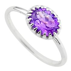 925 sterling silver 2.17cts solitaire natural purple amethyst ring size 6 t40928