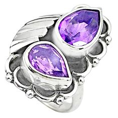 925 sterling silver 5.99cts solitaire natural purple amethyst ring size 6 t6424