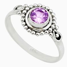 925 sterling silver 0.90cts solitaire natural purple amethyst ring size 7 r87311