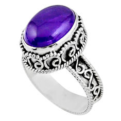 925 sterling silver 5.83cts solitaire natural purple amethyst ring size 8 r51824