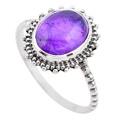 925 sterling silver 3.88cts solitaire natural purple amethyst ring size 8 t25304