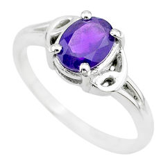 925 sterling silver 2.13cts solitaire natural purple amethyst ring size 8 t7949