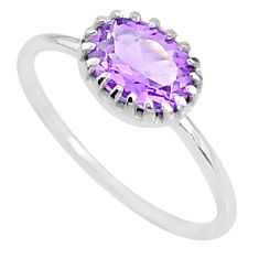 925 sterling silver 2.13cts solitaire natural purple amethyst ring size 9 t8963