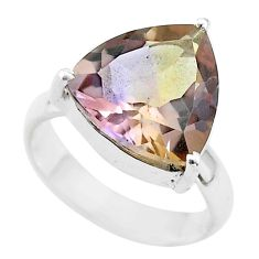 925 sterling silver 6.38cts solitaire natural purple ametrine ring size 5 t50251