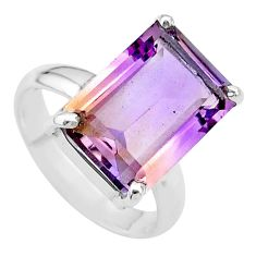 925 sterling silver 6.54cts solitaire natural purple ametrine ring size 6 t24256
