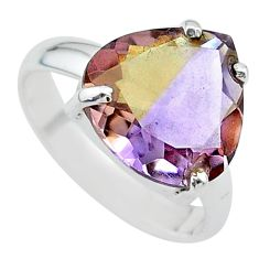 925 sterling silver 7.87cts solitaire natural purple ametrine ring size 8 t24227