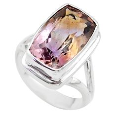 925 sterling silver 9.64cts solitaire natural purple ametrine ring size 8 t45115