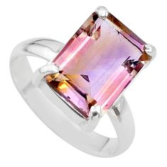 925 sterling silver 6.31cts solitaire natural purple ametrine ring size 9 t24247