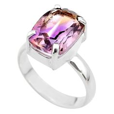 925 sterling silver 6.31cts solitaire natural purple ametrine ring size 9 t45123