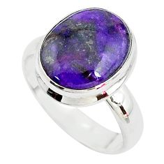925 sterling silver 4.92cts solitaire natural purple sugilite ring size 7 t10556