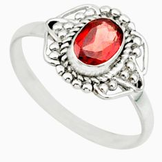 925 sterling silver 1.48cts solitaire natural red garnet oval ring size 7 r87338