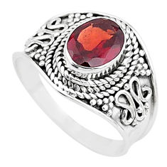 925 sterling silver 1.96cts solitaire natural red garnet oval ring size 7 t10150