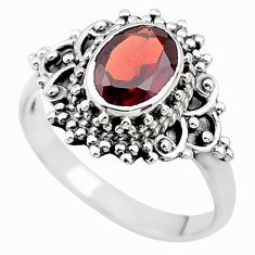 925 sterling silver 2.18cts solitaire natural red garnet oval ring size 7 t19968