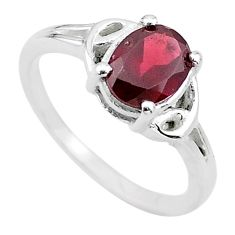 925 sterling silver 2.42cts solitaire natural red garnet oval ring size 7 t22300