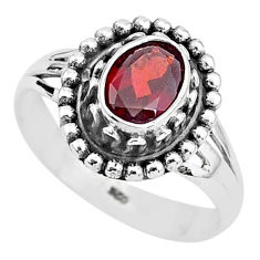 925 sterling silver 2.01cts solitaire natural red garnet oval ring size 7 t3996