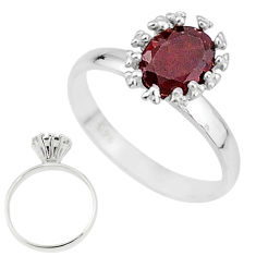 925 sterling silver 2.23cts solitaire natural red garnet oval ring size 7 t7230