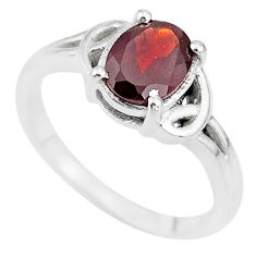 925 sterling silver 2.02cts solitaire natural red garnet oval ring size 7 t7975