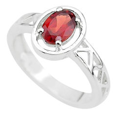 925 sterling silver 1.52cts solitaire natural red garnet oval ring size 7 t8033