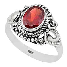 925 sterling silver 1.96cts solitaire natural red garnet oval ring size 8 t1415