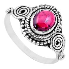 925 sterling silver 1.59cts solitaire natural red garnet oval ring size 8 t26204