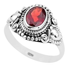 925 sterling silver 2.08cts solitaire natural red garnet oval ring size 8 t3958
