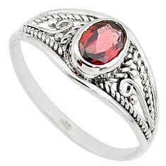 Silver 1.58cts natural cut garnet oval graduation handmade ring size 8 t9309