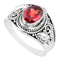 925 sterling silver 2.17cts solitaire natural red garnet oval ring size 9 t10147